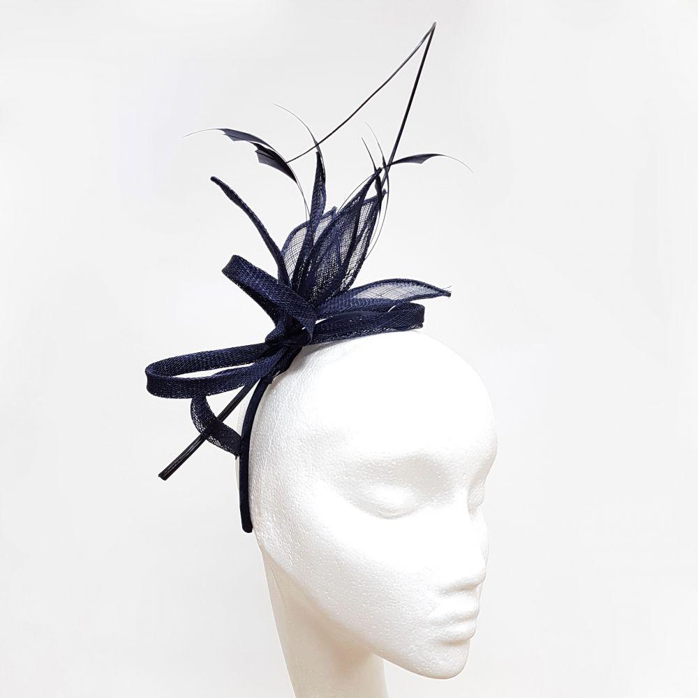 Navy Quill Fascinator on Headband, Fascinators