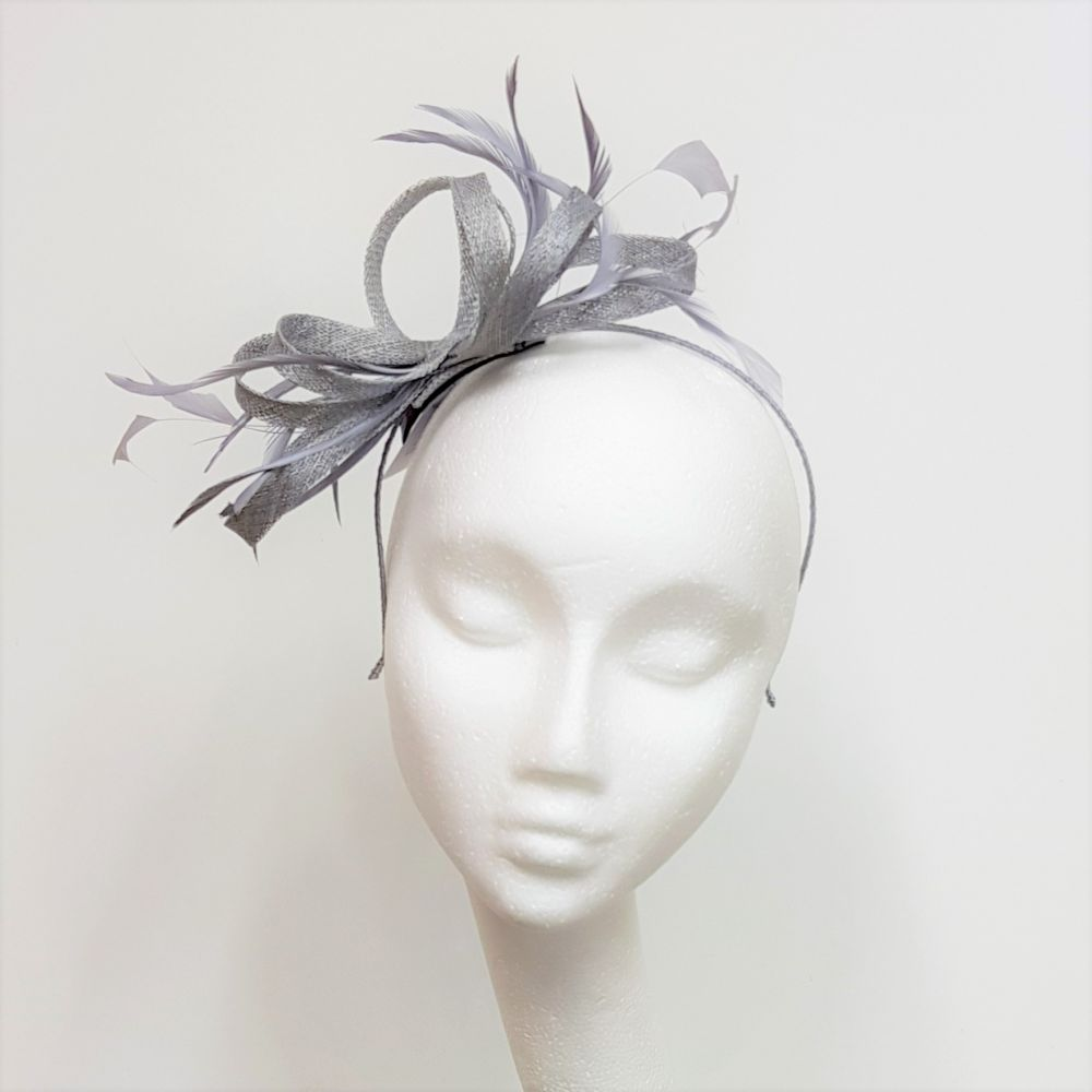 Grey Fascinator with Loops & Feathers, Fascinators