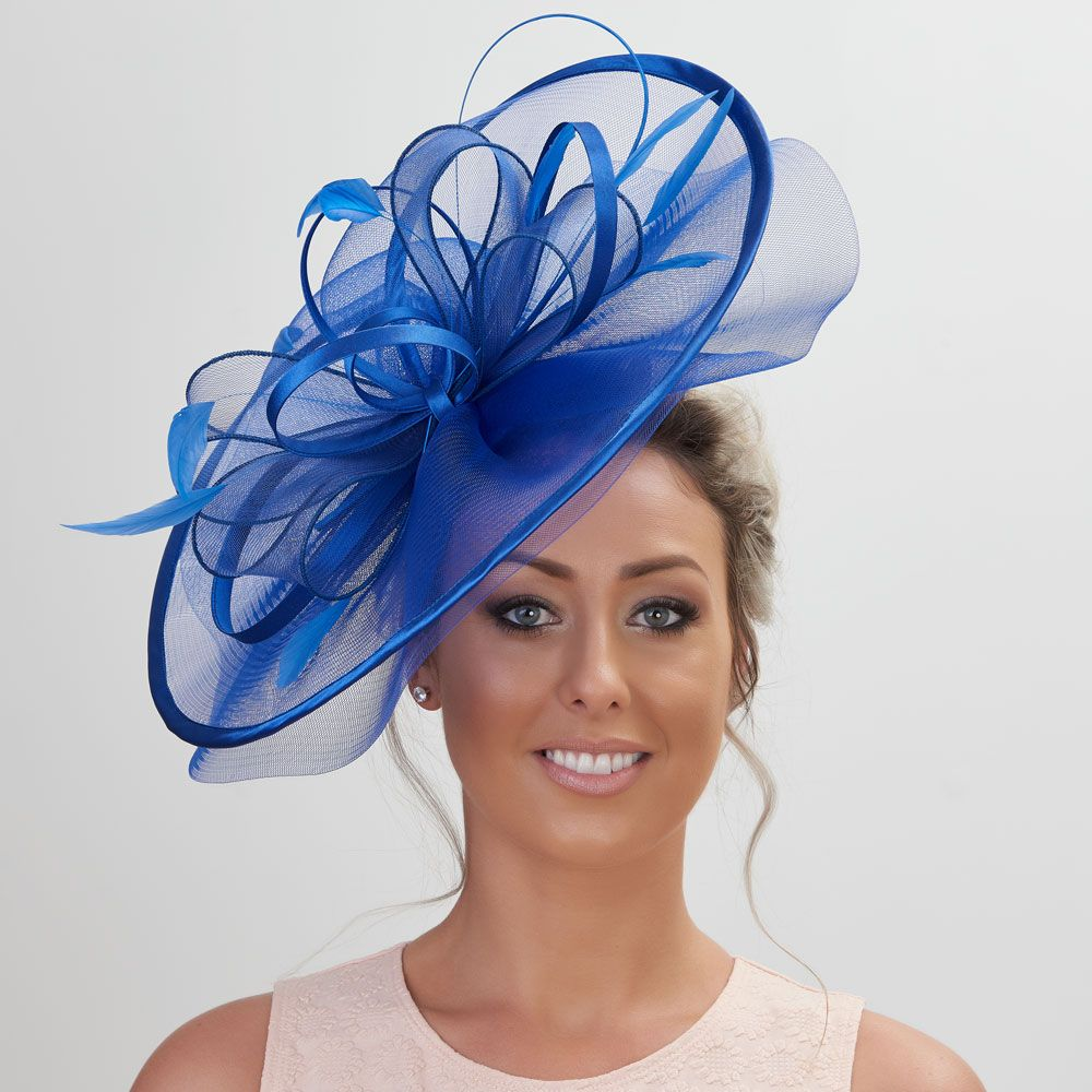 Large Crin Fascinator - Cobalt, Fascinators