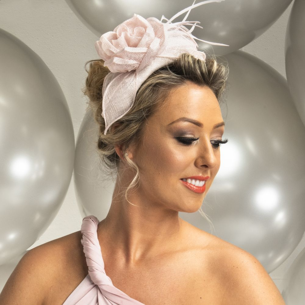 Pale Pink Padded Headband with Rose, Fascinators