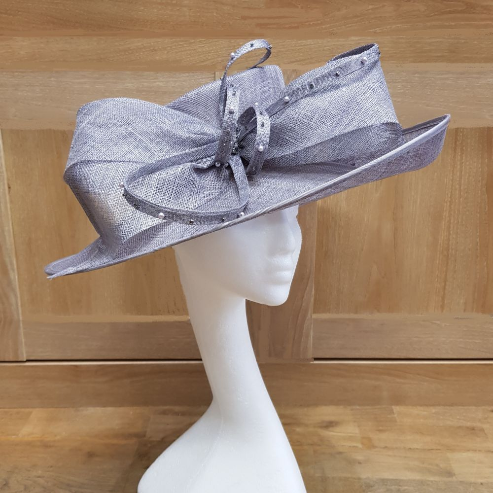 Large Sinamay Hat - Grey, Ladies Hats