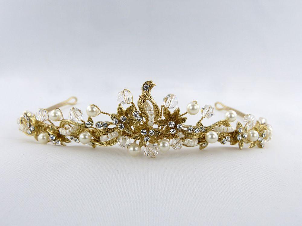Pearl & Swarovski Gold Tiara, Tiaras
