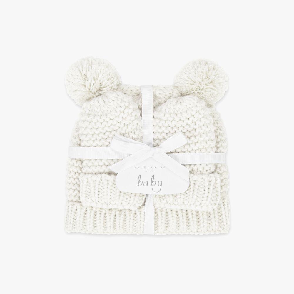 Katie Loxton Baby Hat & Mittens Set - White, Katie Loxton