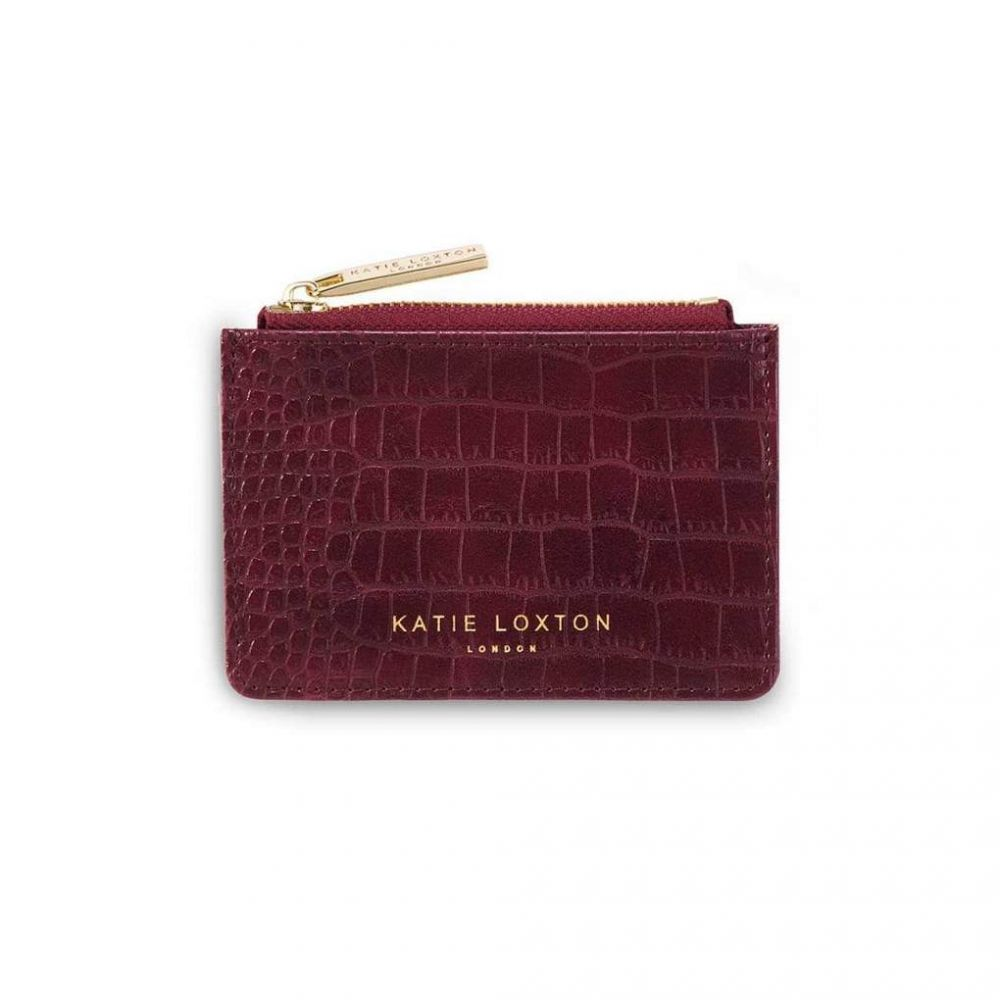 Katie Loxton Celine Faux Croc Card Holder - Burgundy, Katie Loxton