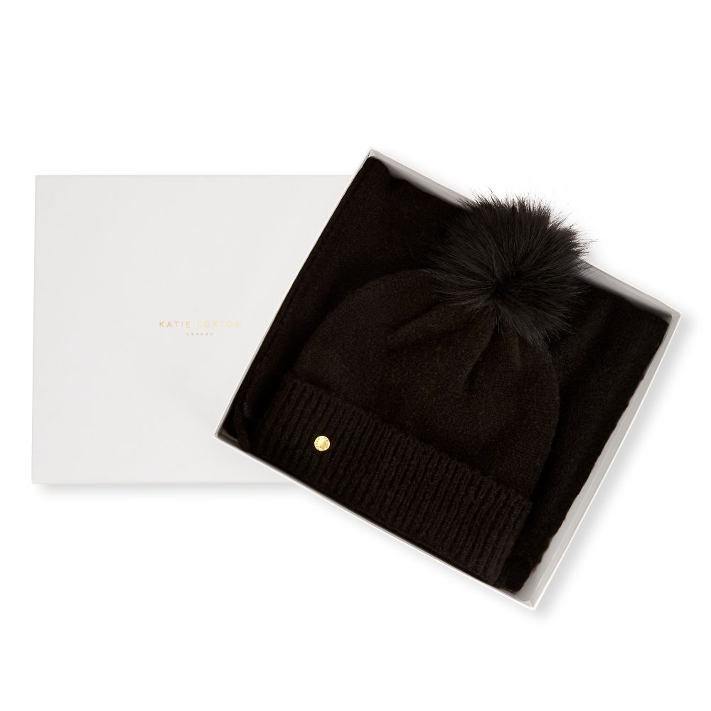 Katie Loxton Knit Boxed Hat and Scarf set - Black, Katie Loxton