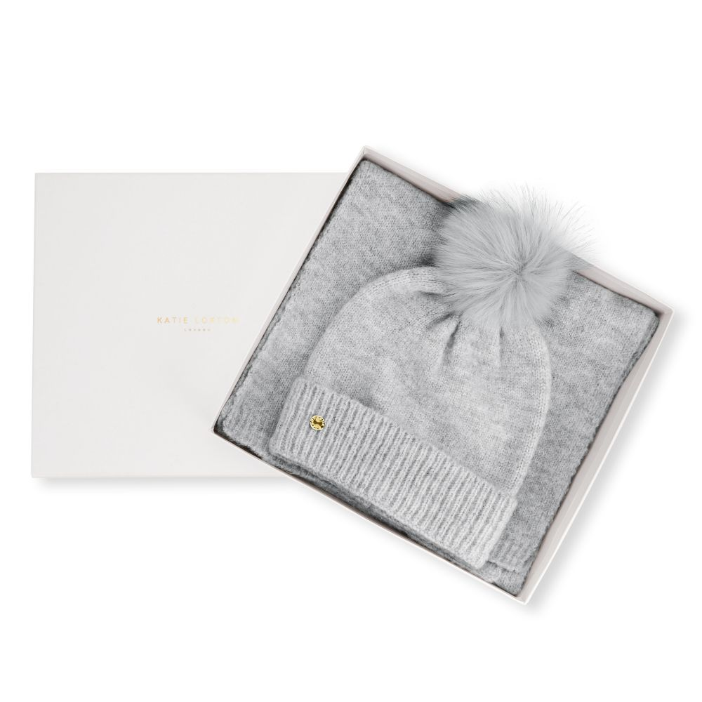 Katie Loxton Knit Boxed Hat and Scarf set - Pale Grey, Katie Loxton