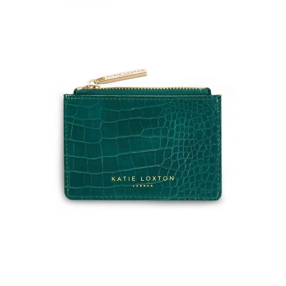 Katie Loxton Celine Faux Croc Card Holder - Forest Green, Katie Loxton