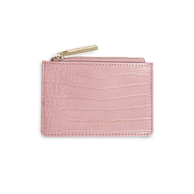 Katie Loxton Celine Faux Croc Card Holder - Pink, Katie Loxton