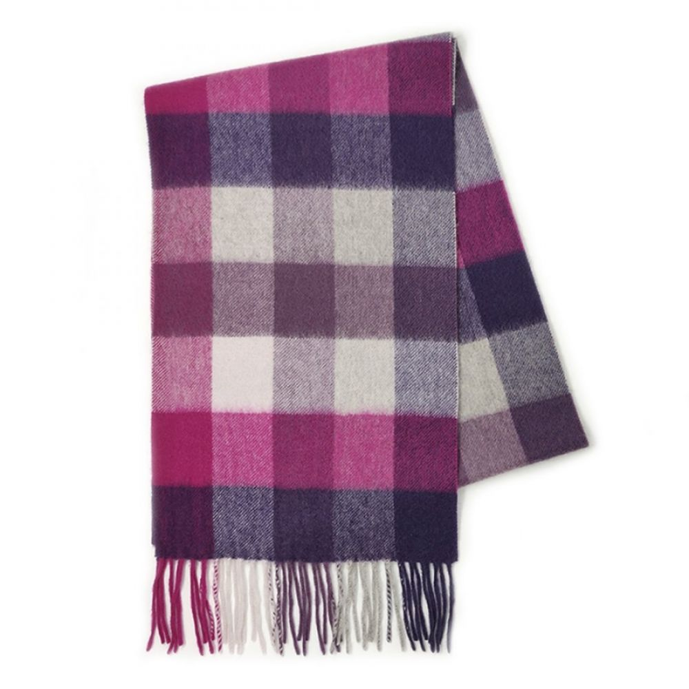 100% Cashmere Scarf - Purple 5 Square Check, Accessories