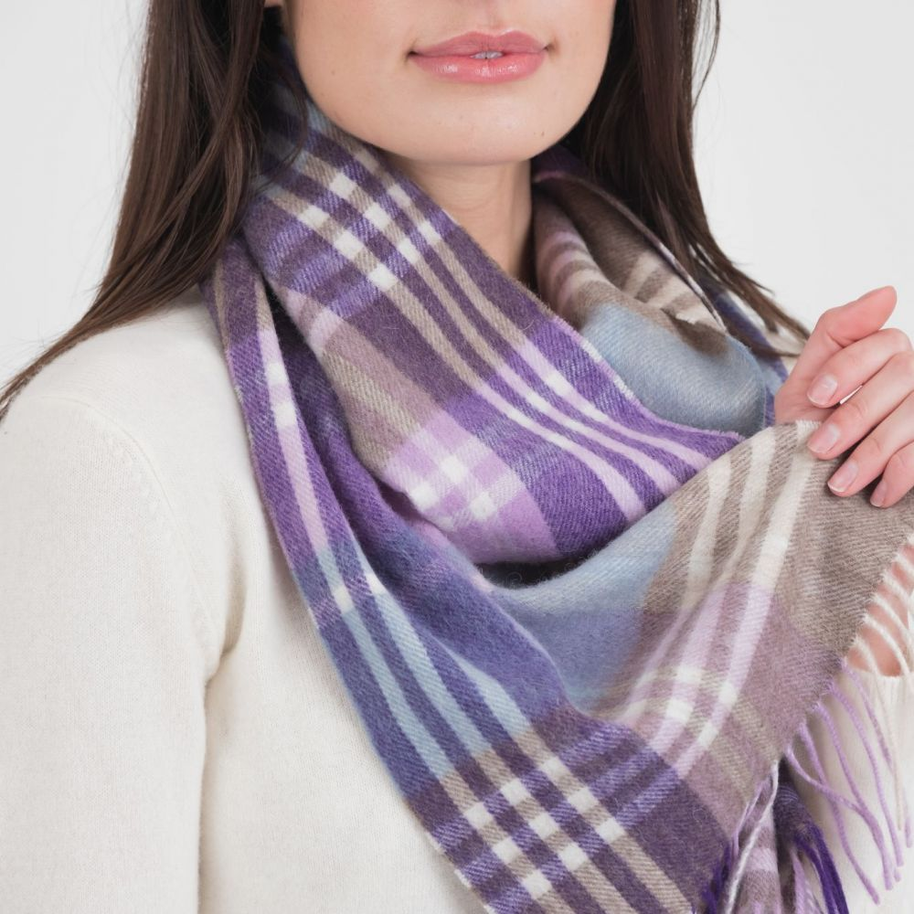 Kiltane Lambswool Scarf - Purple JK Check, Accessories