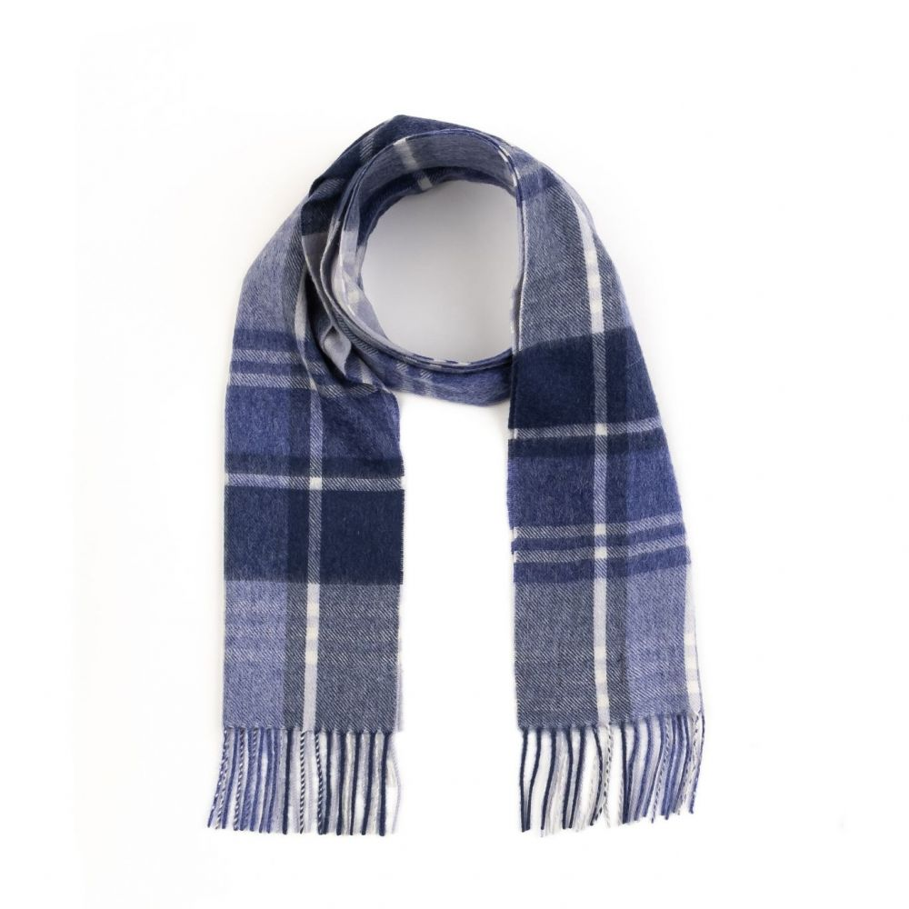 Kiltane Lambswool Scarf - Blue Princetown Check, Accessories