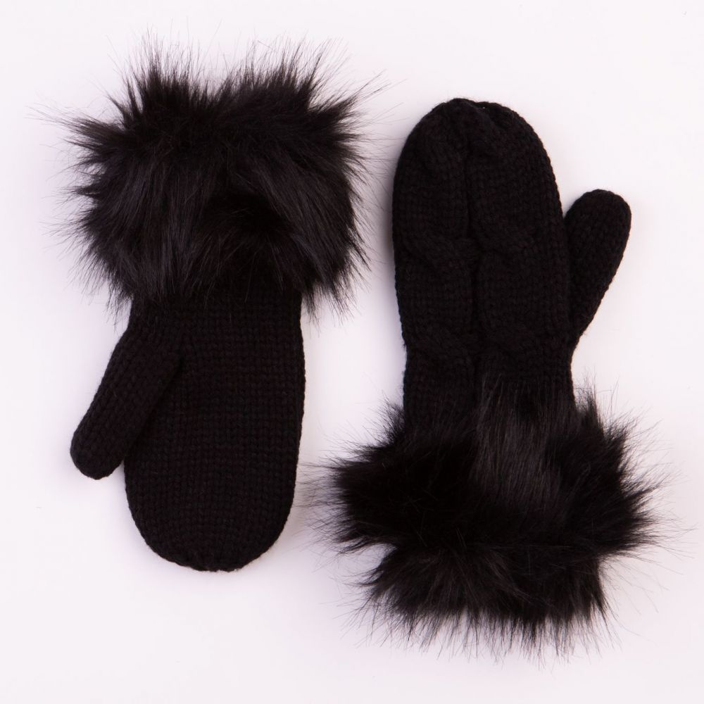 Cable Design Black Mittens with Faux Fur Cuffs, Accessories