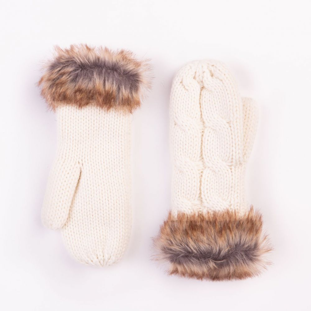 Cable Design Cream Mittens with Faux Fur Cuffs, Accessories