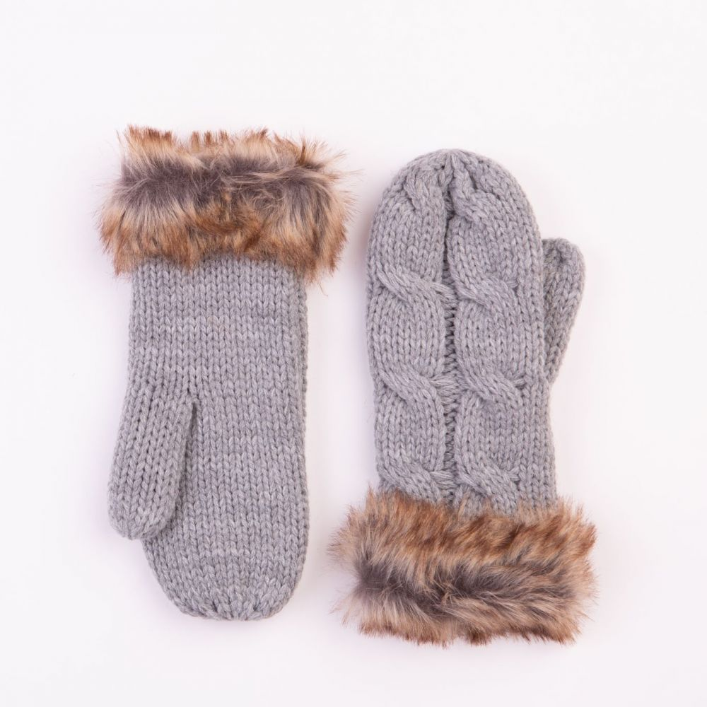Cable Design Grey Mittens with Faux Fur Cuffs, Accessories