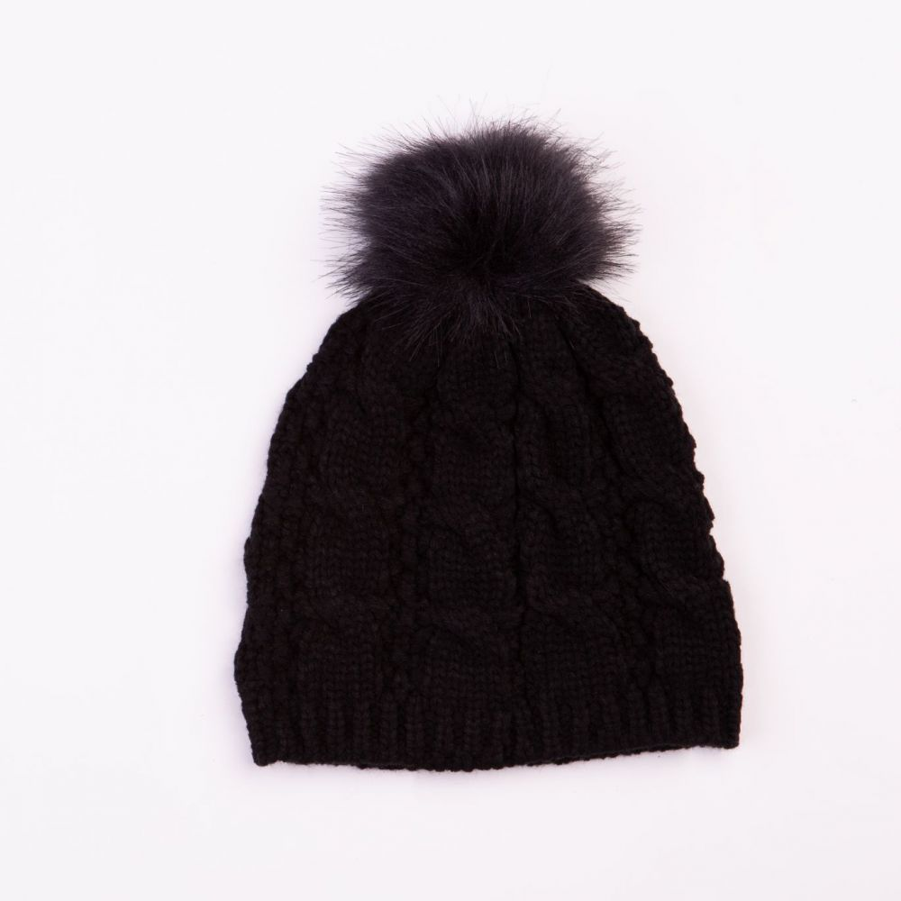 Cable Design Faux Fur Pom Pom Black Hat, Ladies Hats