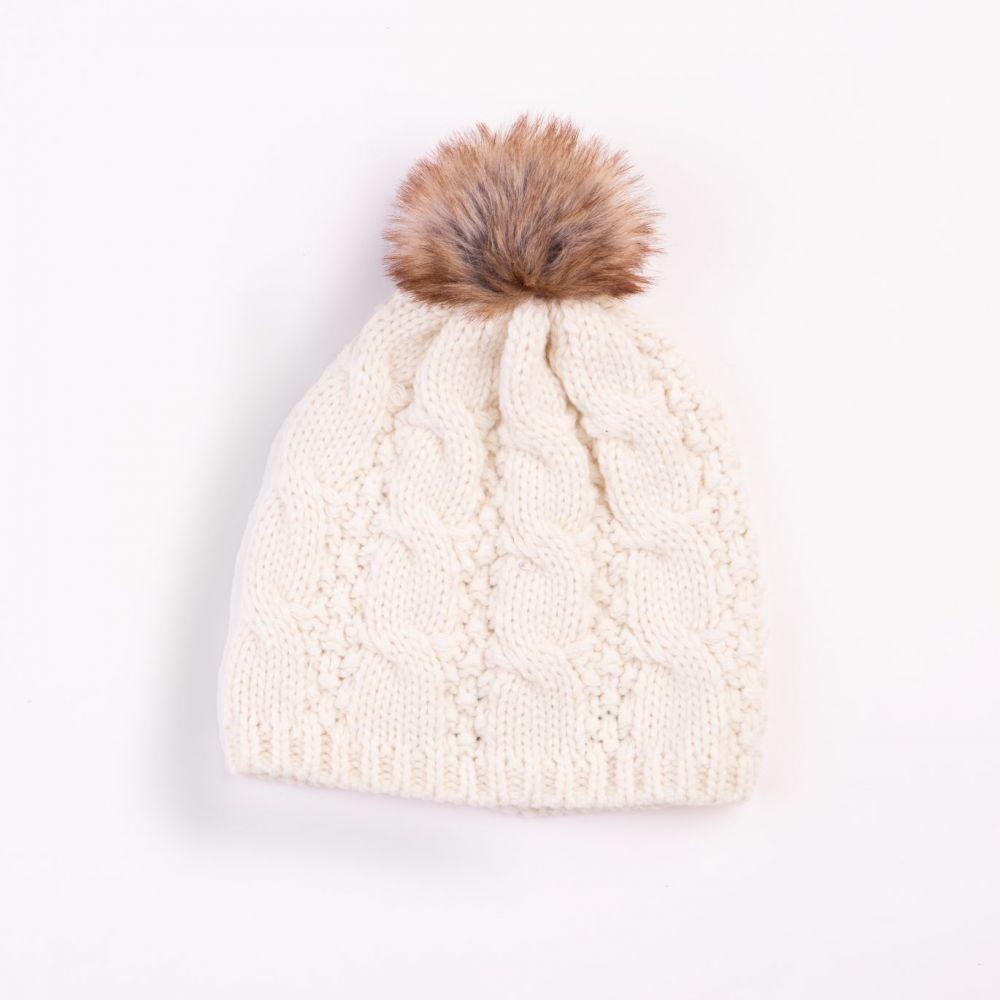Cable Design Faux Fur Pom Pom Cream Hat, Ladies Hats