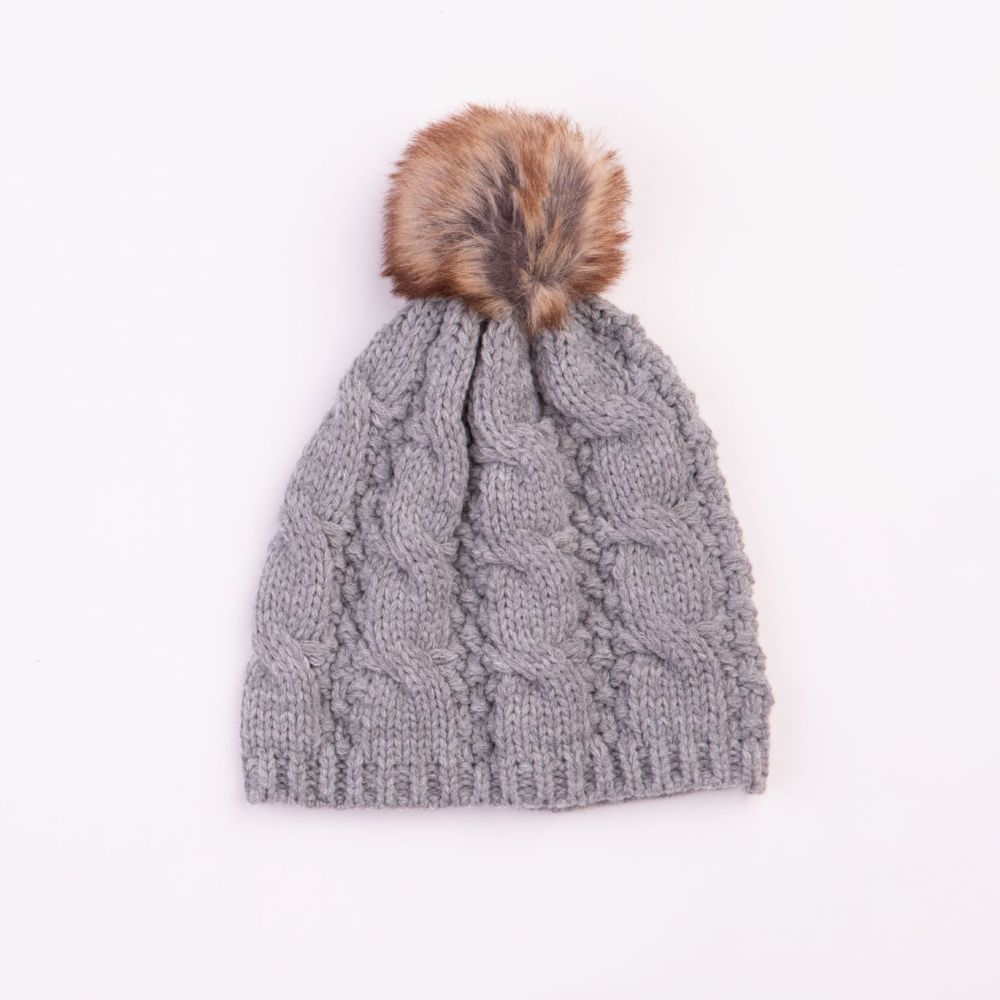 Cable Design Faux Fur Pom Pom Grey Hat, Ladies Hats