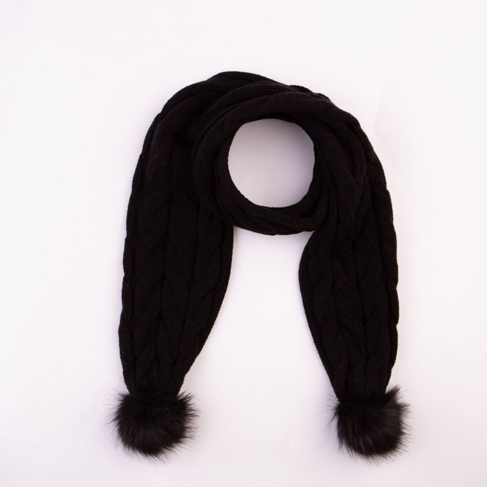 Cable Design Faux Fur Pom Pom Black Scarf, Accessories