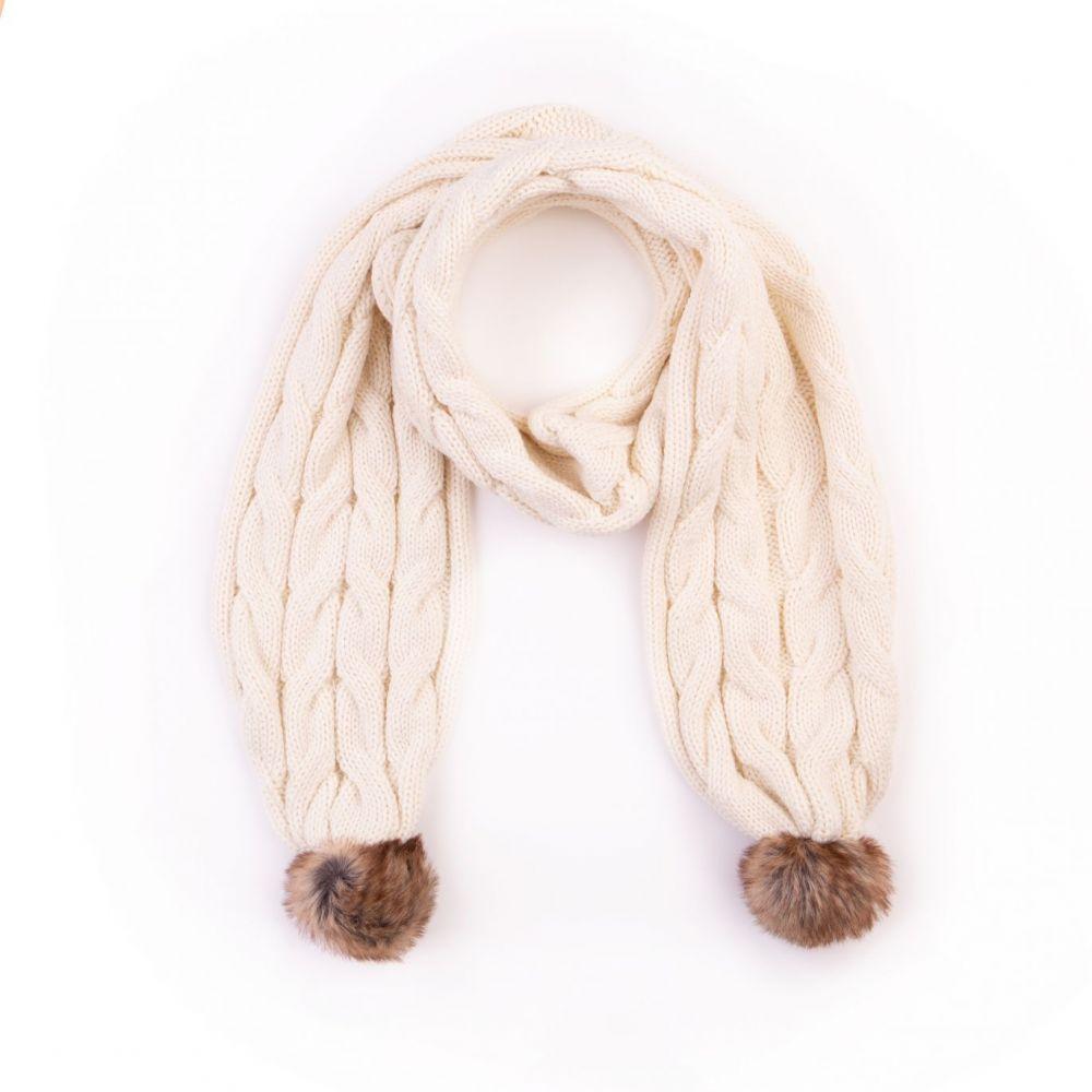 Cable Design Faux Fur Pom Pom Cream Scarf, Accessories