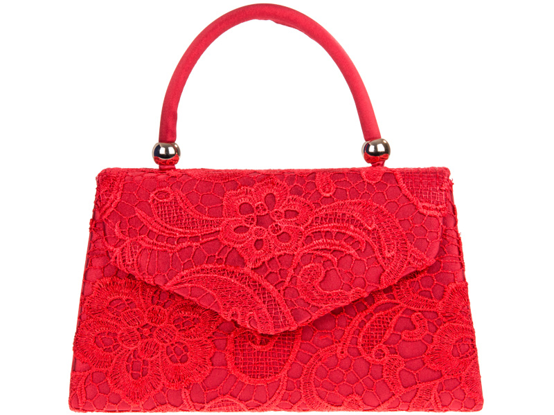 Lace Handle Bag - Red, Accessories