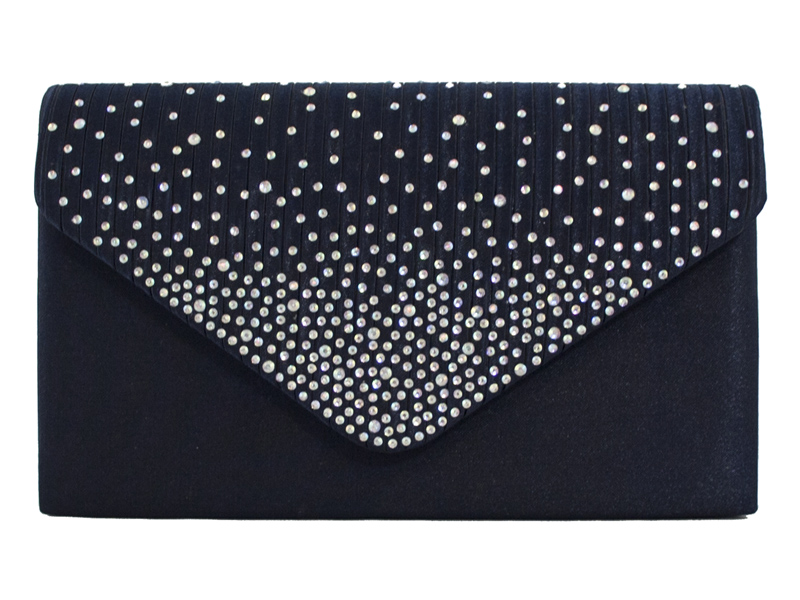 Satin Diamante Clutch Bag - Navy, Accessories