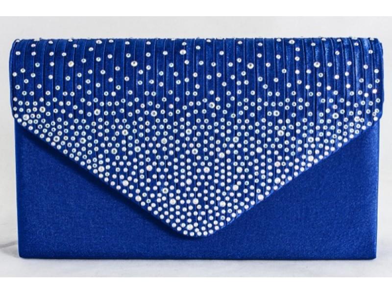 Satin Diamante Royal Blue Clutch Bag, Accessories