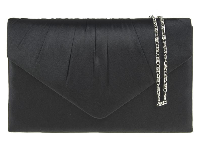 KOKO Satin Ruche Black Clutch Bag - Black, Accessories