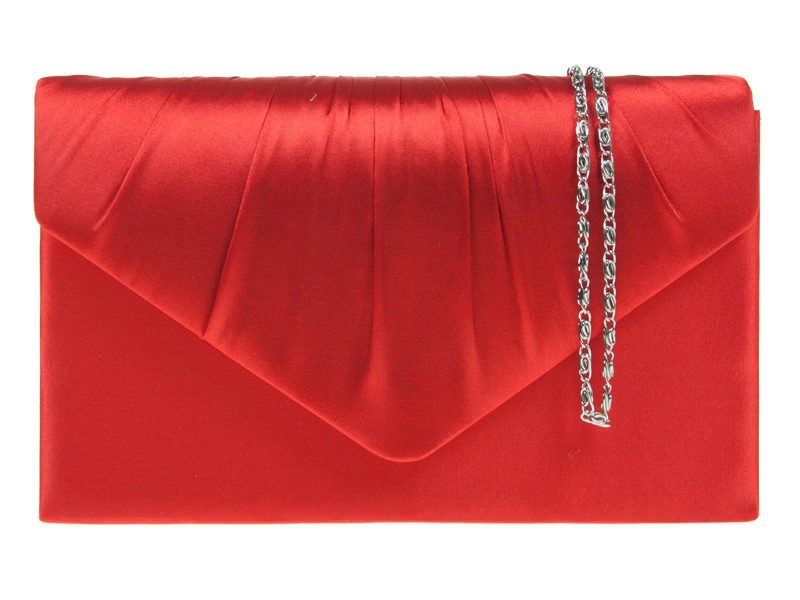 KOKO Satin Ruche Black Clutch Bag - Red, Accessories