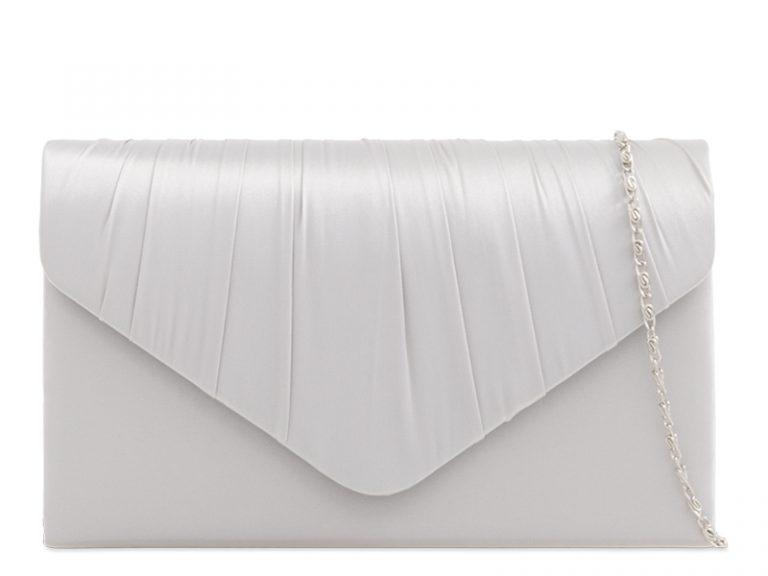KOKO Satin Ruche Black Clutch Bag - Silver, Accessories