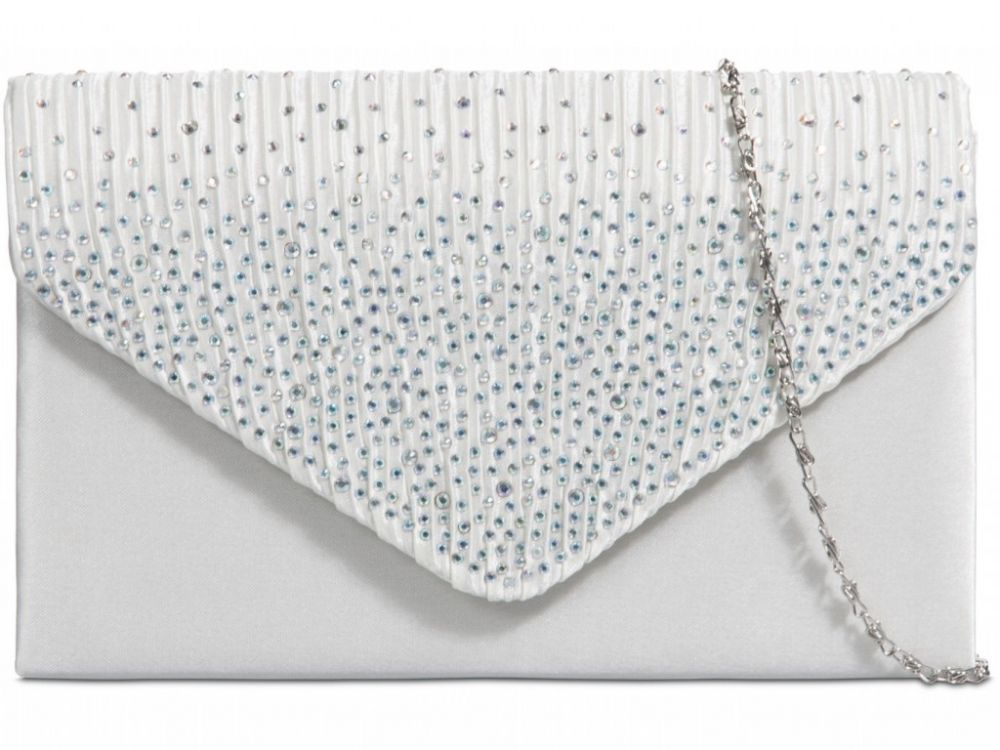 Satin Diamante Clutch Bag - Ivory, Accessories