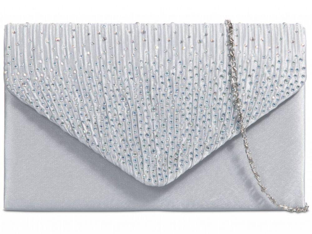 Satin Diamante Clutch Bag - Silver, Accessories