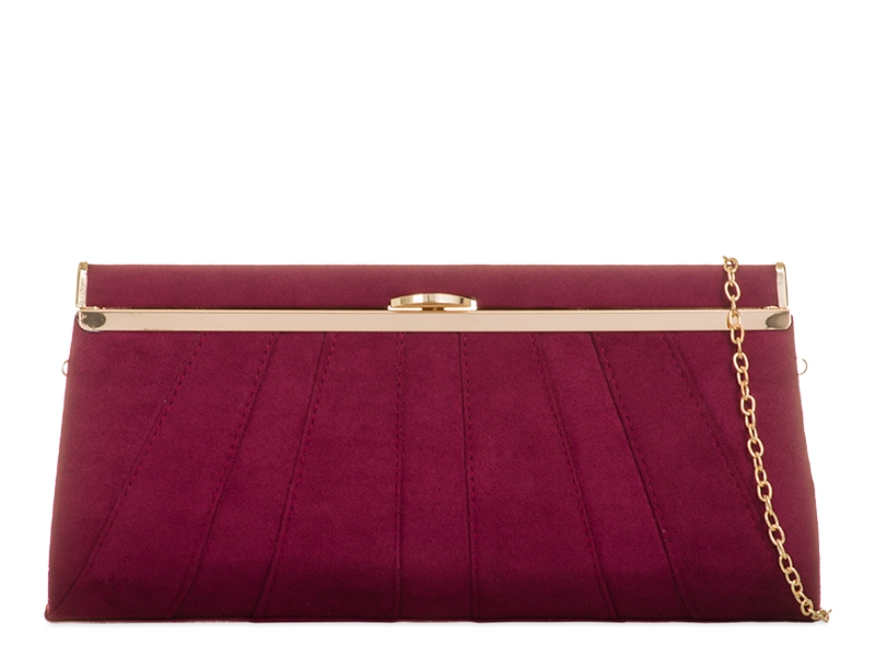 Suede Effect Burgundy Clutch Bag, Accessories