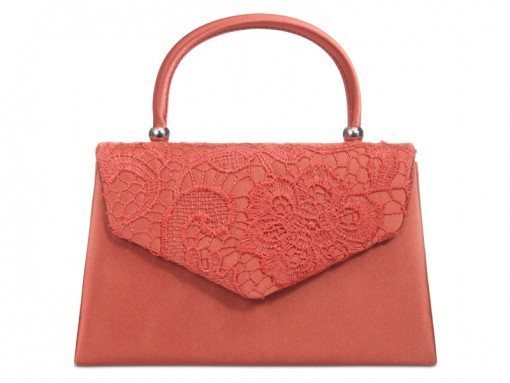 Satin & Lace Handle Bag - Coral, Accessories