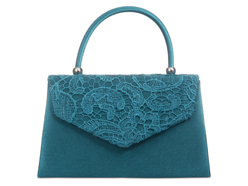 Satin & Lace Handle Bag - Teal, Accessories