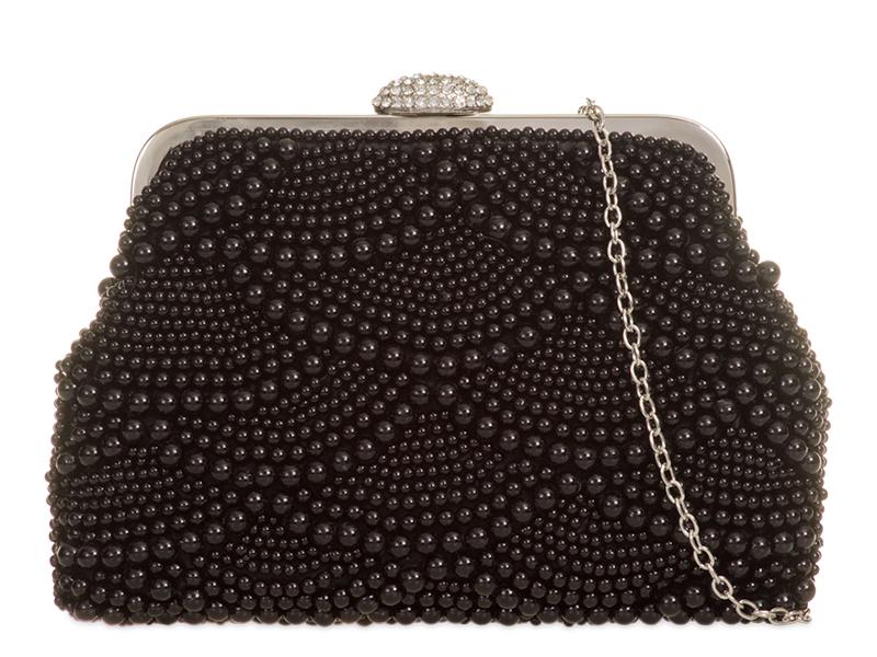 Pearl & Diamante Bag - Black, Accessories