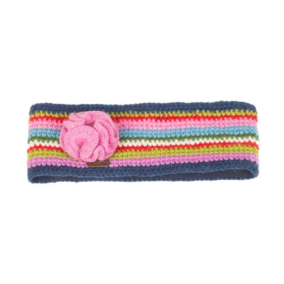 KuSan Fleece Lined Headband with Flower - Blue/Pink, Accessories