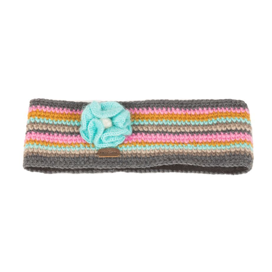 KuSan Fleece Lined Headband with Flower - Grey/Pink, Accessories