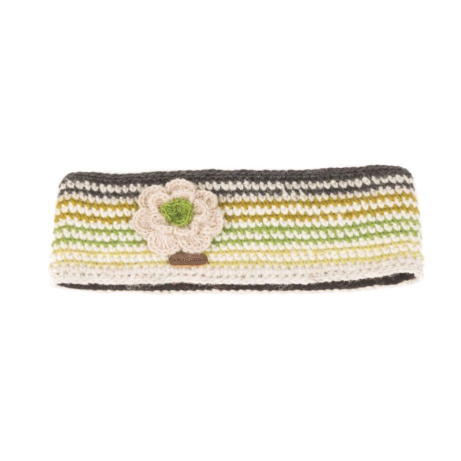 KuSan Fleece Lined Headband with Flower - Green, Accessories