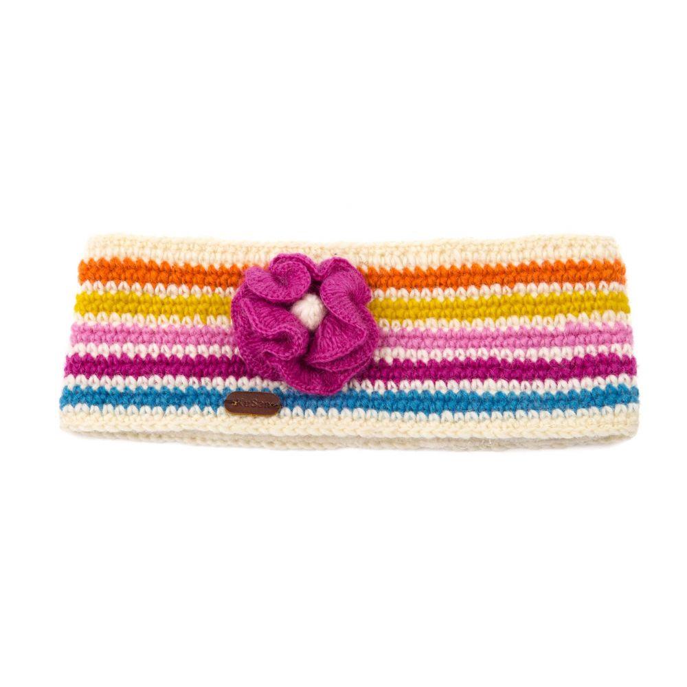 KuSan Fleece Lined Headband with Flower - White, Accessories