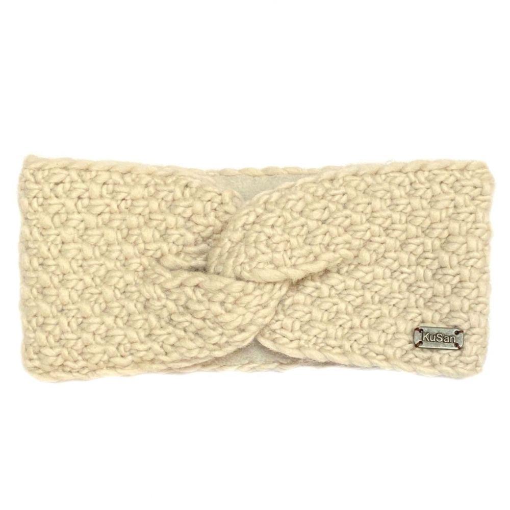 KuSan Fleeced Lined Moss Yarn Headband - Oatmeal, Accessories