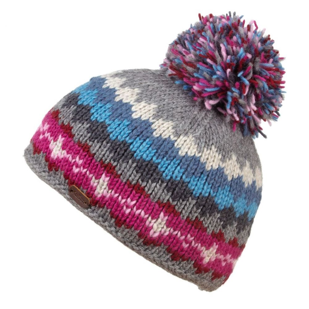KuSan Fleece Lined Unisex Bobble Hat - Grey/Blue, Ladies Hats