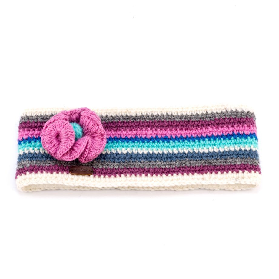 KuSan Fleece Lined Headband with Flower - Blue/Pink, Accessories