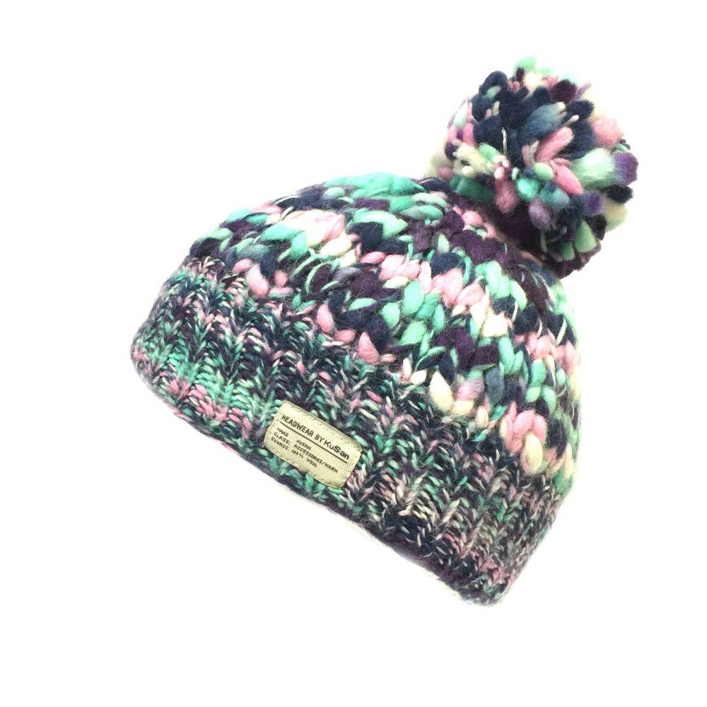 KuSan Fleece Lined Unisex Bobble Hat - Aqua/White, KuSan Hats & Accessories