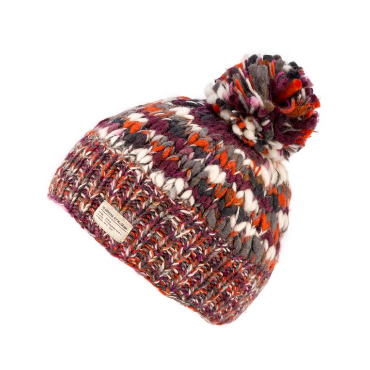 KuSan Fleece Lined Unisex Bobble Hat - Orange/Berry, KuSan Hats & Accessories