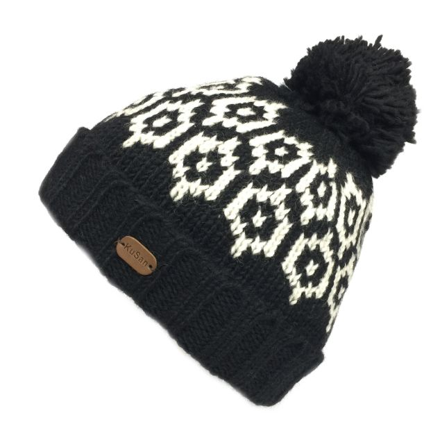 KuSan Fleece Lined Unisex Bobble Hat - Black, KuSan Hats & Accessories