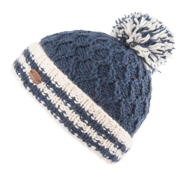 KuSan Fleece Lined Unisex Cable Bobble Hat - Navy, KuSan Hats & Accessories