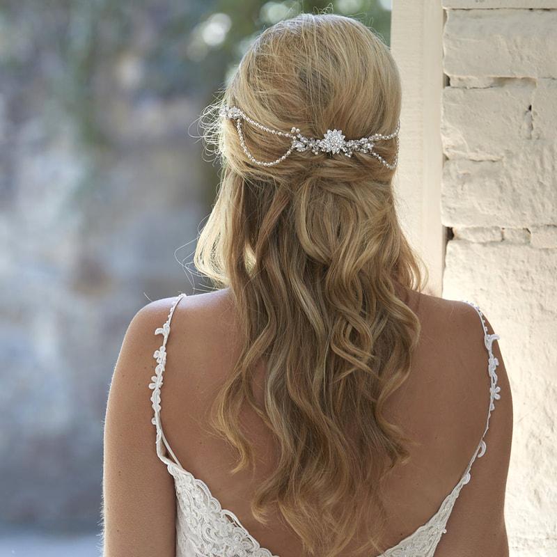 Lyra Draped Pearl Bridal Headpiece, Bridal Hair Accessories