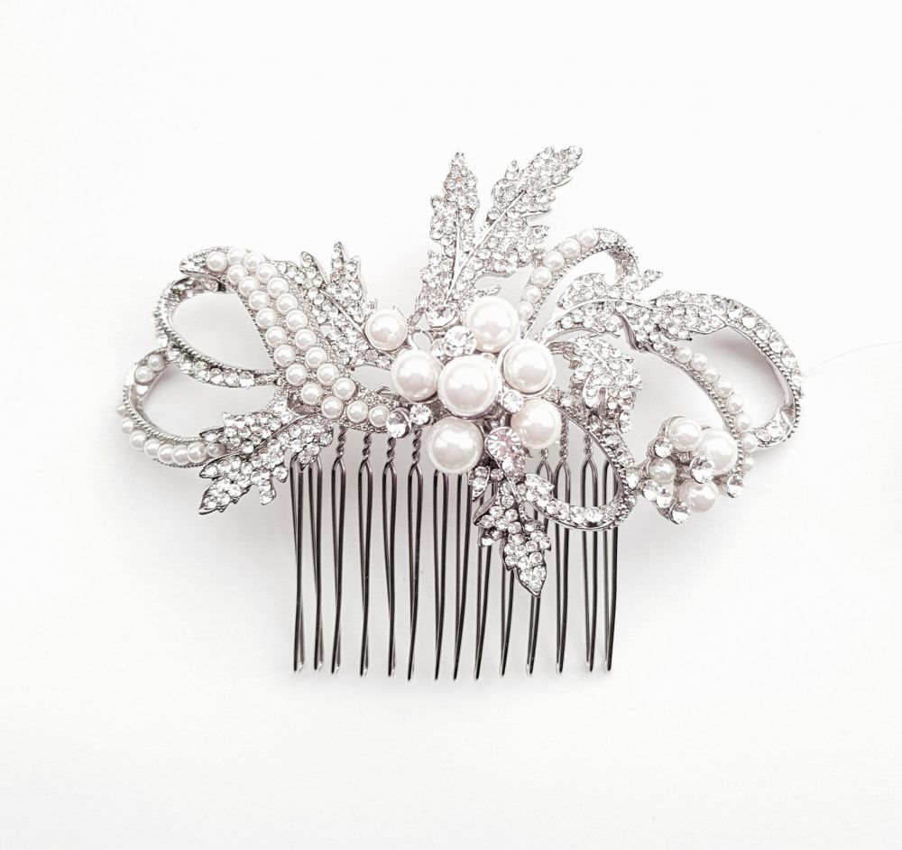 Vintage Style Pearl & Diamante Bridal Comb, Bridal Hair Accessories