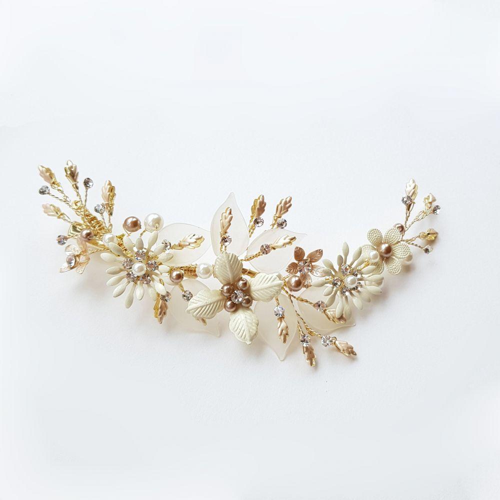Gold and Ivory Bridal Hair Clip, Bridal Hair Accessories