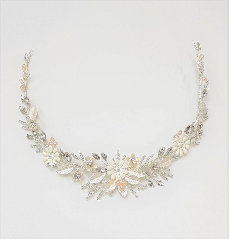 Silver Hair Vine with Porcelain Flowers, Bridal Hair Accessories